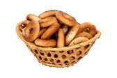 Basket with dry bread-ring — Stock Photo