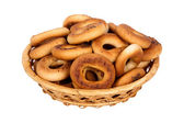 Basket with dry bread-ring — Stok fotoğraf