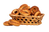 Basket with dry bread-ring — Photo