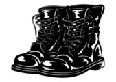Black army boots — Stock Vector