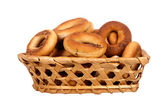 Basket with dry bread-ring — Stockfoto