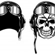 Stock Vector: Skull kamikaze in helmet