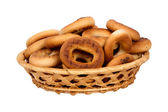 Basket with dry bread-ring — 图库照片