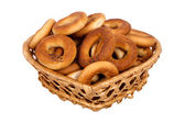 Basket with dry bread-ring  — Стоковое фото
