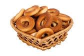 Cesto con pane secco-anello — Foto Stock