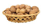 Basket with walnuts — Stock Photo