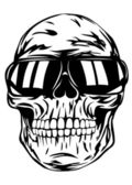 Skull in sunglasses — Stockvector