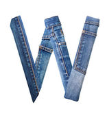 Jeans alphabet on white letter W — Photo