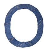 Jeans-alphabet auf weißer buchstabe o — Stockfoto
