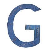 Jeans alphabet on white letter G — Stock Photo
