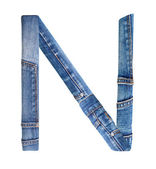 Jeans alphabet on white letter N — Stock Photo
