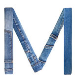 Jeans alphabet on white letter M — Photo
