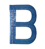 Jeans alphabet on white letter B — Stock Photo