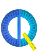 Alphabet rulers and protractors — Stock Photo
