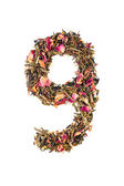 Digit '9' from herbal tea abc — Stock Photo