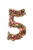 Digit '5' from herbal tea abc — Stock Photo
