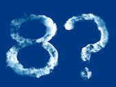Digit '8' and question mark from clouds alphabet — Stockfoto