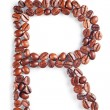 Photo: Letter R from coffee beans