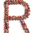 Stockfoto: Letter R from coffee beans