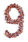 Number 9 from coffee beans — Stock Photo