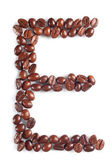 Letter E from coffee beans — Stock Photo