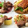 Collage of delicious beef meals — Stock Photo