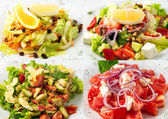 Collage of delicious diet salad for fitness — Stock Photo