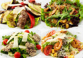 Collage hot salads their veal, beef, shrimp, chicken — Zdjęcie stockowe