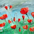 Royalty-Free Stock Photo: Watercolor painting, poppies