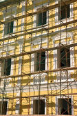 Scaffold over facade — 图库照片