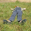 Stock Photo: Man lying on grass