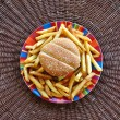 Cheeseburger and french fries - Stockfoto