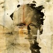 Rough sketch of man on grungy paper — Stock Photo