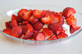 Strawberries and yogurt — Photo
