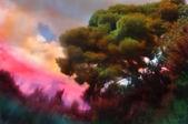 抽象的な塗られた森林景観 — ストック写真