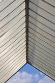 Plastic roofing and blue sky — Stock Photo