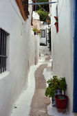 White painted street and small houses — Stok fotoğraf