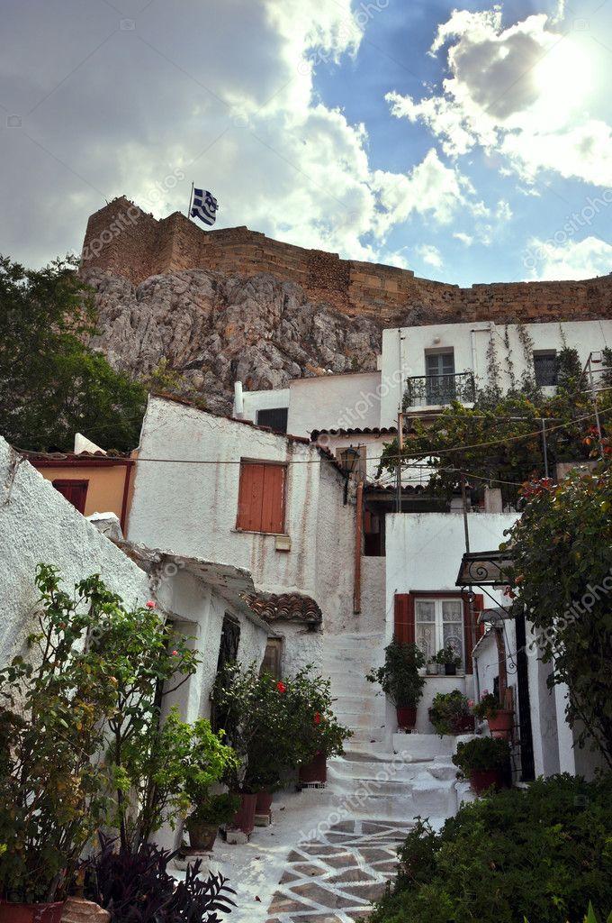 Quartier anafiotika traditionnelles petites maisons for Acheter une maison dans les cyclades