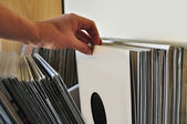 Doorbladeren vinyl records — Stockfoto