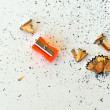 Pencil sharpener and shavings — Foto de Stock