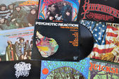 Psychedelic rock vinyl records — Стоковое фото