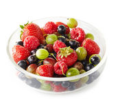 Bowl of fresh ripe berries on white background — Stock Photo