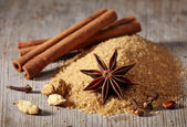 Brown sugar and spices — Stock Photo