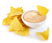 Nachos and dip — Stock Photo