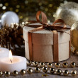 Stock Photo: Christmas decorations and gift