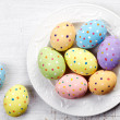 Plate of Easter eggs — Stock Photo