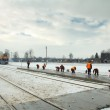 Clearing snow on the railway — Stock Photo