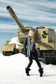 Girl and a tank — Stock Photo