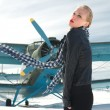 Girl and plane winter — Foto Stock
