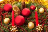 Christmas balls fir cones — Photo